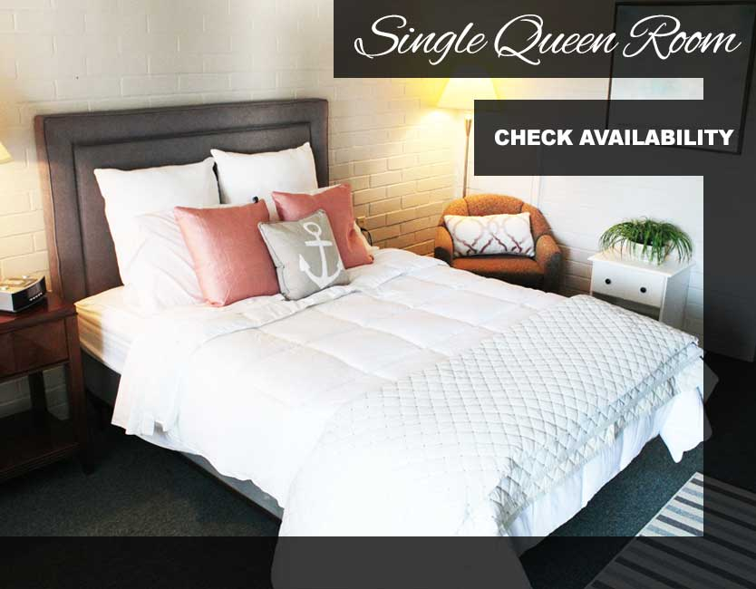 Keuka Lake Motel Single Queen Room with bed and night stand displayed. Click to check availability.